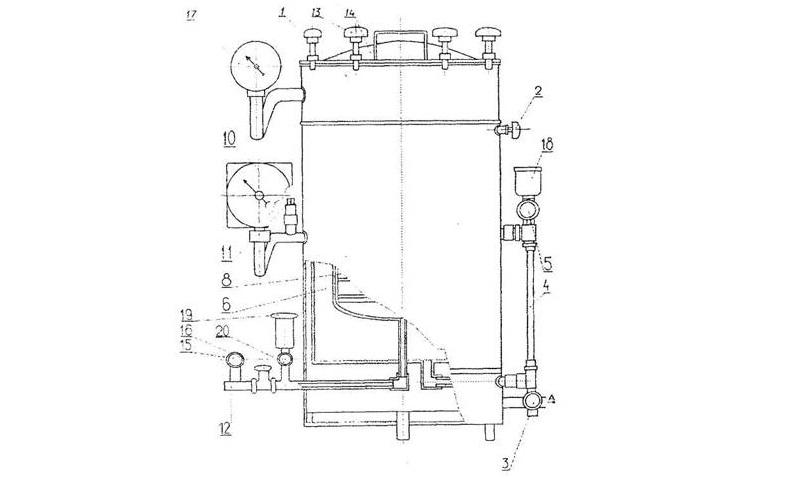 Схема устройства парового стерилизатора