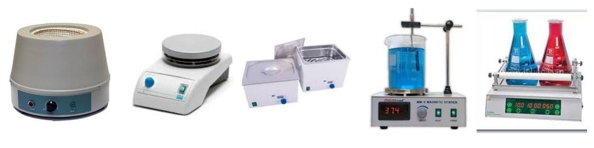 Фото разных нагревательных лабораторных приборов для колб